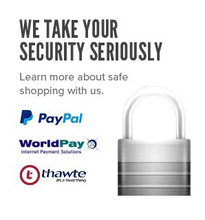 Safe payments provided by PayPal, WorldPay and Thawte